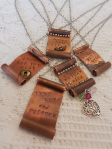 Stamped scroll necklaces